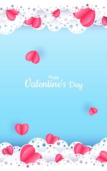 Banner di carta blu di san valentino