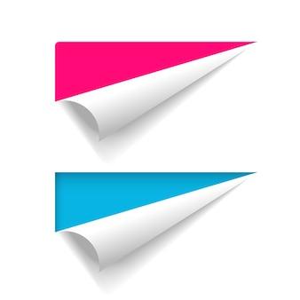 Banner di carta buccia d'angolo, foglio di pagina piegato arricciato, adesivo piegato attorcigliato vuoto vuoto per testo spazio copia