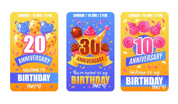 Banner di carte anniversario di compleanno