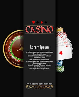 Banner di casinò con la ruota della roulette, patatine e carte da gioco