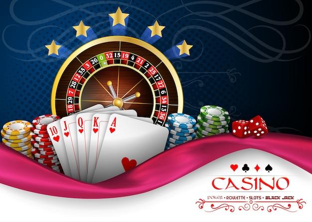 Banner di casinò con ruota della roulette del casinò, carte e fiches