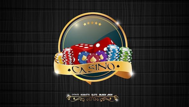 Banner di casinò di poker con chip e carte