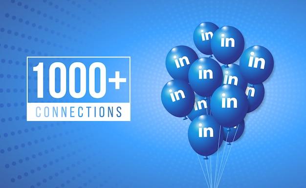Banner di celebrazione della festa di linkedin balloons e post per sfondi per i social media