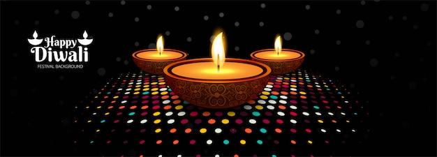 Banner di celebrazione per il festival di diwali colorato