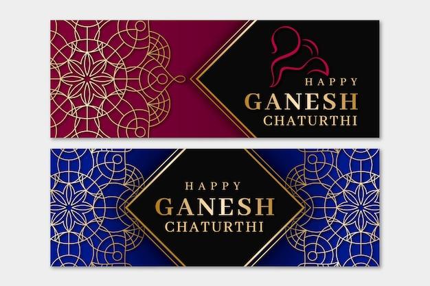 Banner di chaturthi realistico di ganesh