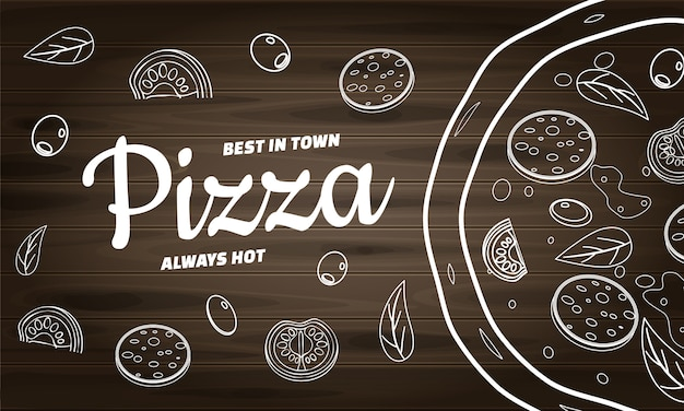 Banner di cibo pizza per ristorante e caffetteria. design in modello di stile lineart doodle