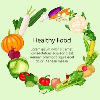 Banner di cibo sano impostato con design piatto di verdure