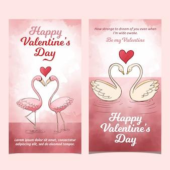 Banner di cigni di san valentino dell'acquerello