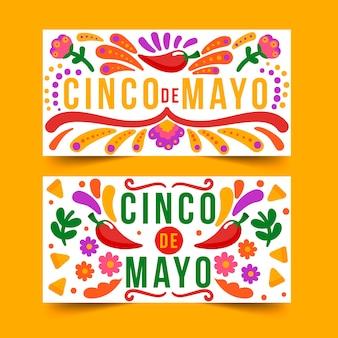 Banner di cinco de mayo disegnati a mano