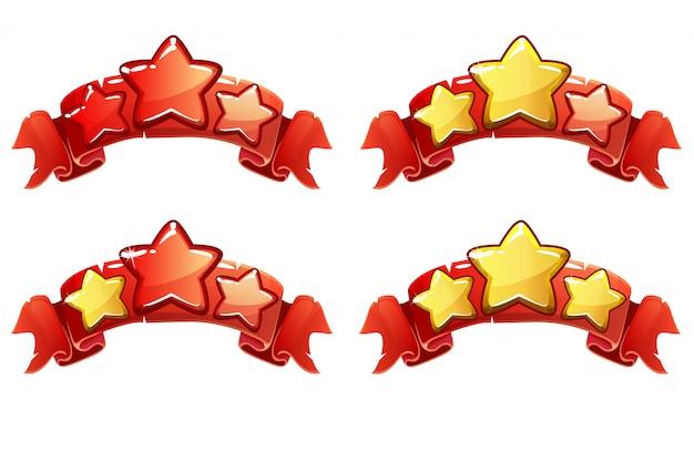 Banner di classifica completa livello vettoriale con stelle sul nastro rosso