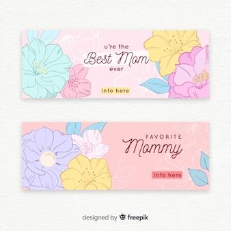 Banner di colore pastello di fiori di colore pastello