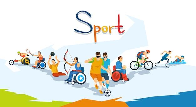 Banner di competizione sportiva per atleti disabili