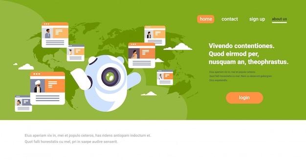 Banner di comunicazione globale di robot chatbot messenger online popolo indiano