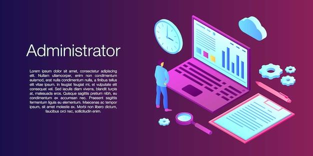 Banner di concetto di amministratore di rete, stile isometrico
