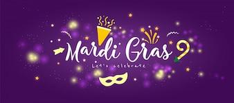 Banner di concetto di Carnevale con stella e fuochi d'artificio su uno sfondo scuro
