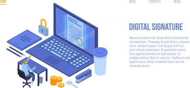 Banner di concetto di firma digitale, stile isometrico