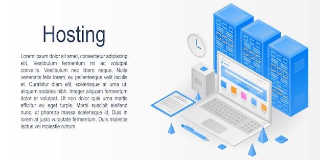 Banner di concetto di hosting, stile isometrico