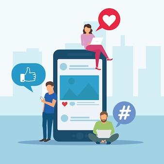 Banner di concetto di media sociali con posto del testo. illustrazione vettoriale minimal stile piatto