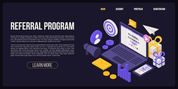 Banner di concetto di programma di riferimento, stile isometrico