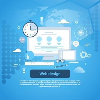 Banner di concetto di programmazione grafica di web design