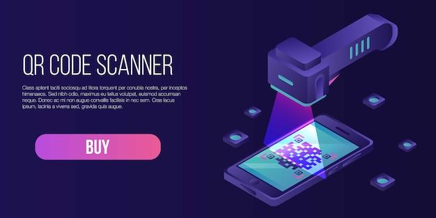 Banner di concetto di scanner di codice qr, stile isometrico