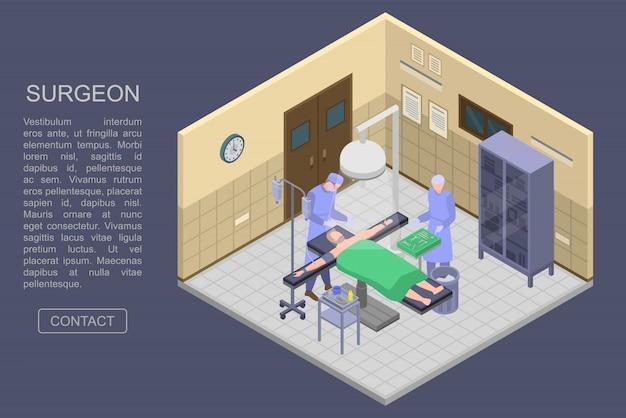 Banner di concetto di stanza chirurgo, stile isometrico