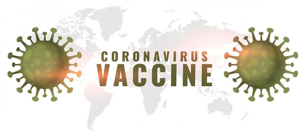 Banner di concetto di vaccino contro il coronavirus con due cellule virali