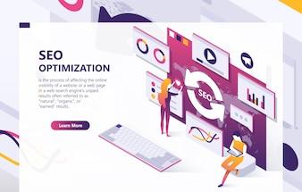 Banner di concetto isometrica ottimizzazione SEO