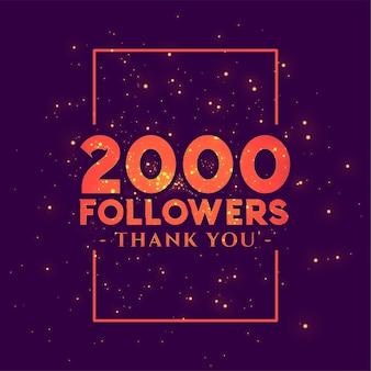 Banner di congratulazioni di 2000 follower per i social network