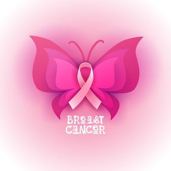 Banner di consapevolezza del cancro al seno farfalla rosa farfalla