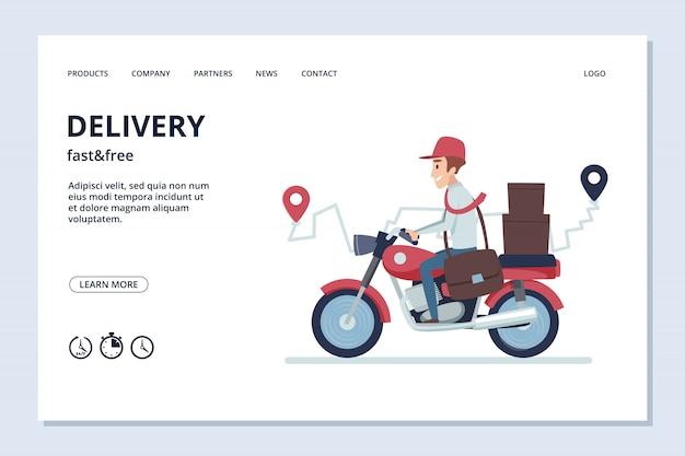 Banner di consegna. uomo di consegna sulla moto con pacchi