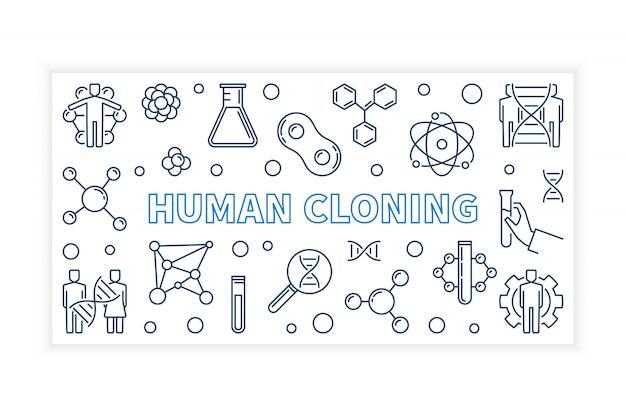 Banner di contorno vettoriale clonazione umana