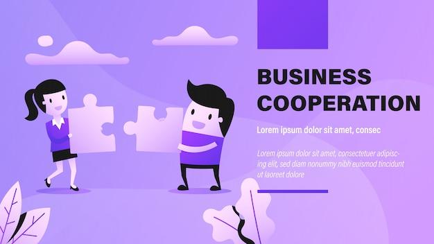 Banner di cooperazione commerciale