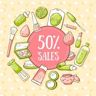 Banner di cosmetici cosmetici per ragazze adolescenti in stile doodle