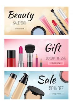 Banner di cosmetici. modello di progettazione di banner orizzontali con s di cosmetici donna