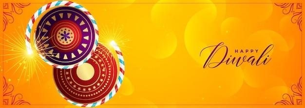 Banner di cracker giallo per felice festival di diwali