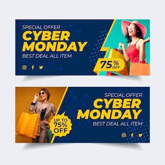 Banner di cyber lunedì design piatto con foto