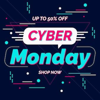 Banner di cyber lunedì design piatto