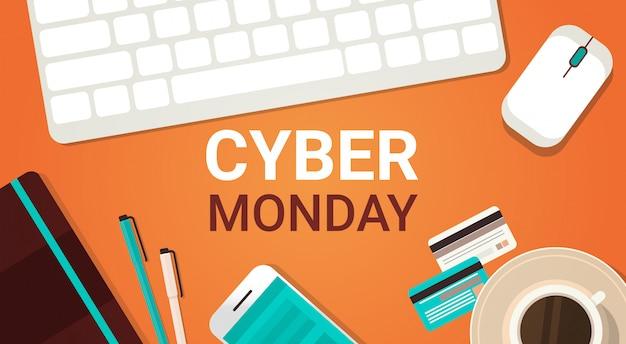 Banner di cyber monday con tastiera, mouse e smartphone per laptop