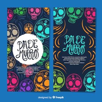 Banner di dãa de muertos disegnato a mano colorato