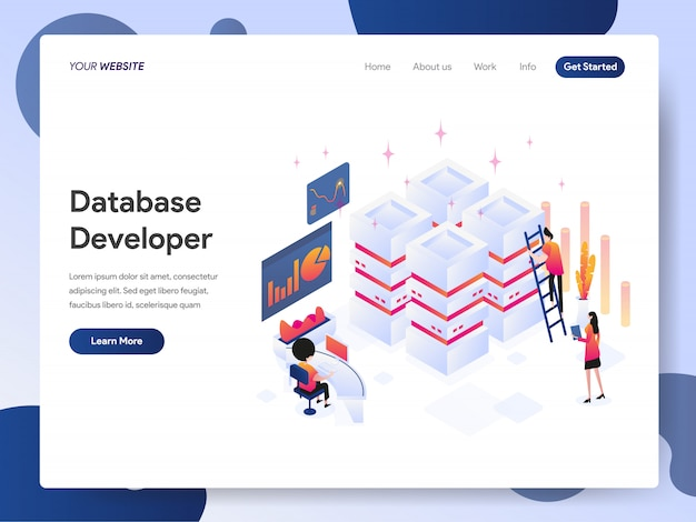 Banner di database developer della landing page