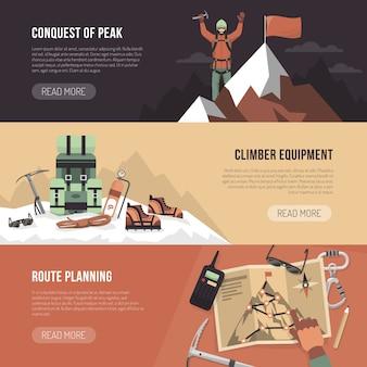 Banner di design di alpinismo