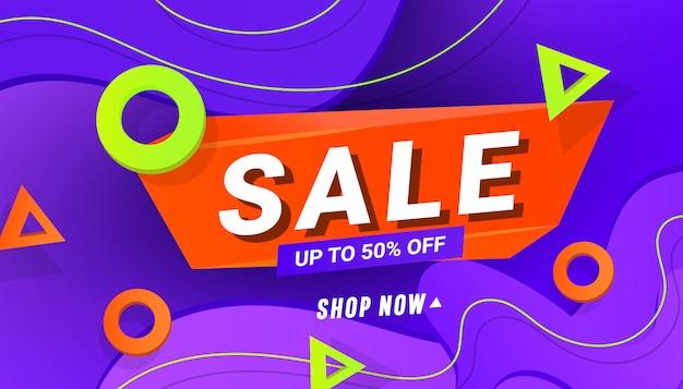 Banner di design di grande vendita con onda sfumata liquida in plastica e forme triangolari sfumate.