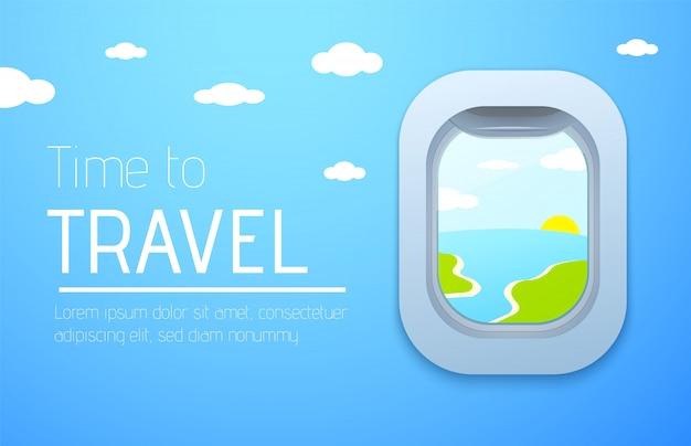 Banner di design di tempo di viaggiare. vista dall'aereo