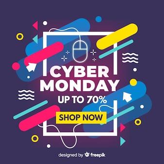Banner di design piatto cyber lunedì vendita