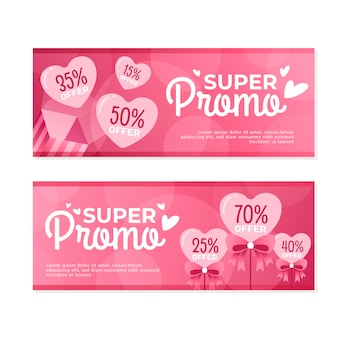 Banner di design piatto san valentino vendita