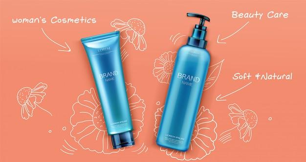 Banner di design promozionale pacchetto di bottiglie cosmetiche.