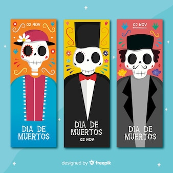 Banner di dia de muertos disegnati a mano