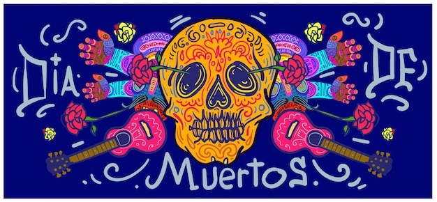 Banner di dia de muertos disegnato a mano