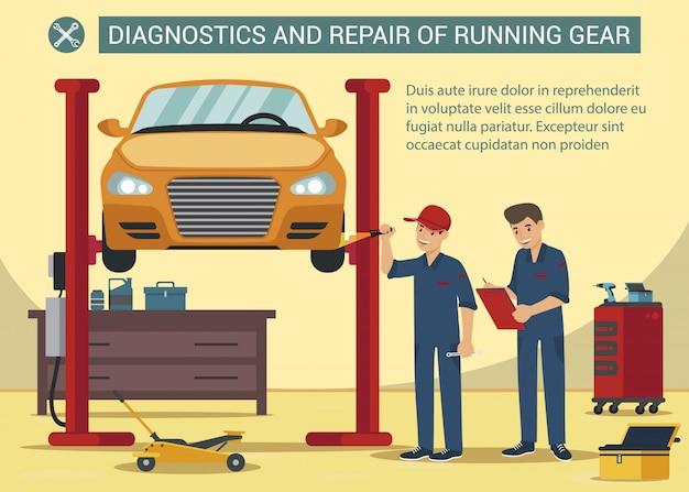 Banner di diagnostica e servizio rapid running gearin car service